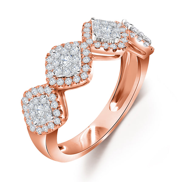14KT Rose and White Gold Cluster Diamond Band (0.95 ct. tw.)