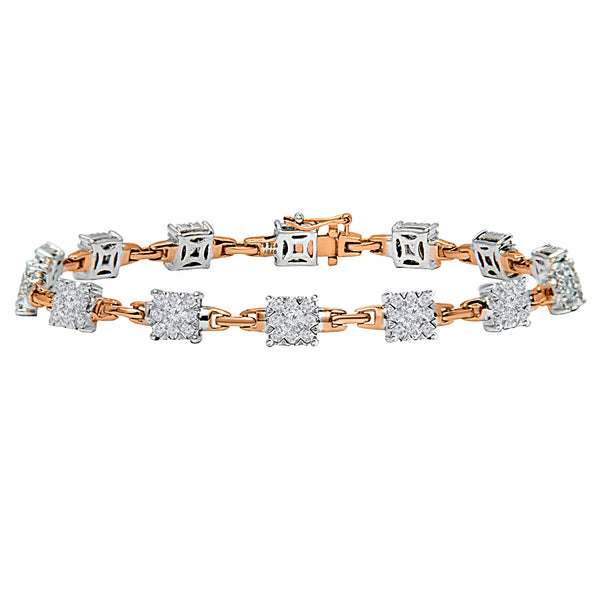 14KT Rose and White Gold Round Diamond Link Bracelet (2.61 ct. tw.)
