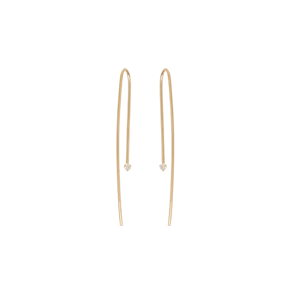 14K SMALL DIAMOND PRONG SET WIRE EARRINGS