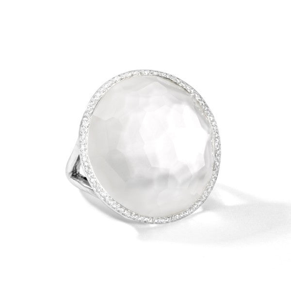 Lollipop Sterling Silver Large Ring with Diamonds, Mother of Pearl