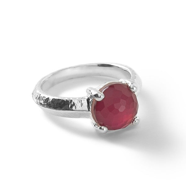 Rock Candy Wonderland Single Stone Prong Knife Edge Ring Raspberry