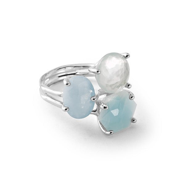 ROCK CANDY STERLING SILVER 3-STONE CLUSTER RING
