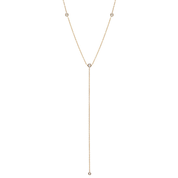 14K 4 FLOATING DIAMONDS LARIAT NECKLACE
