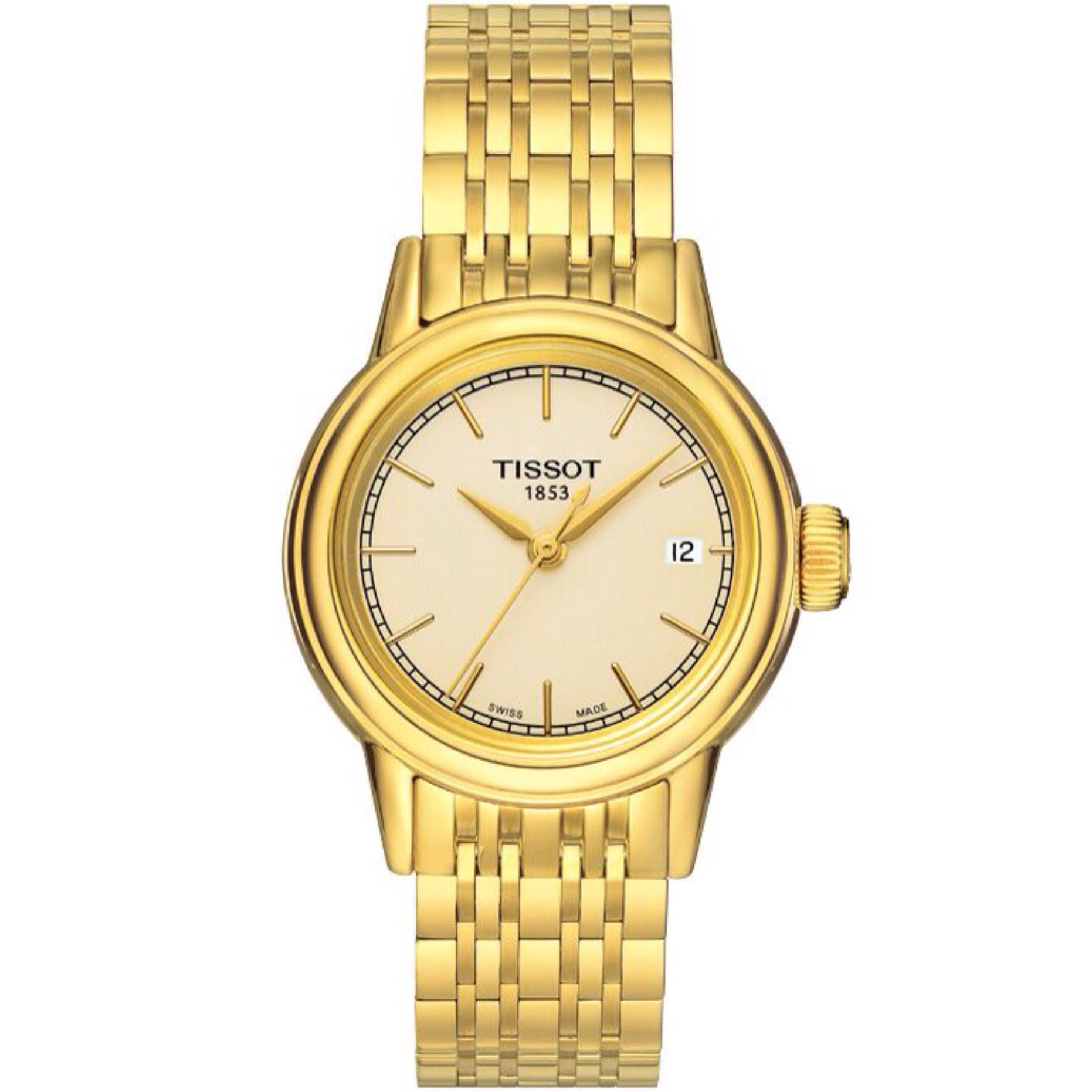 Tissot Carson Quartz Lady Champagne Dial Watch with Gold PVD Stainless Steel Bracelet