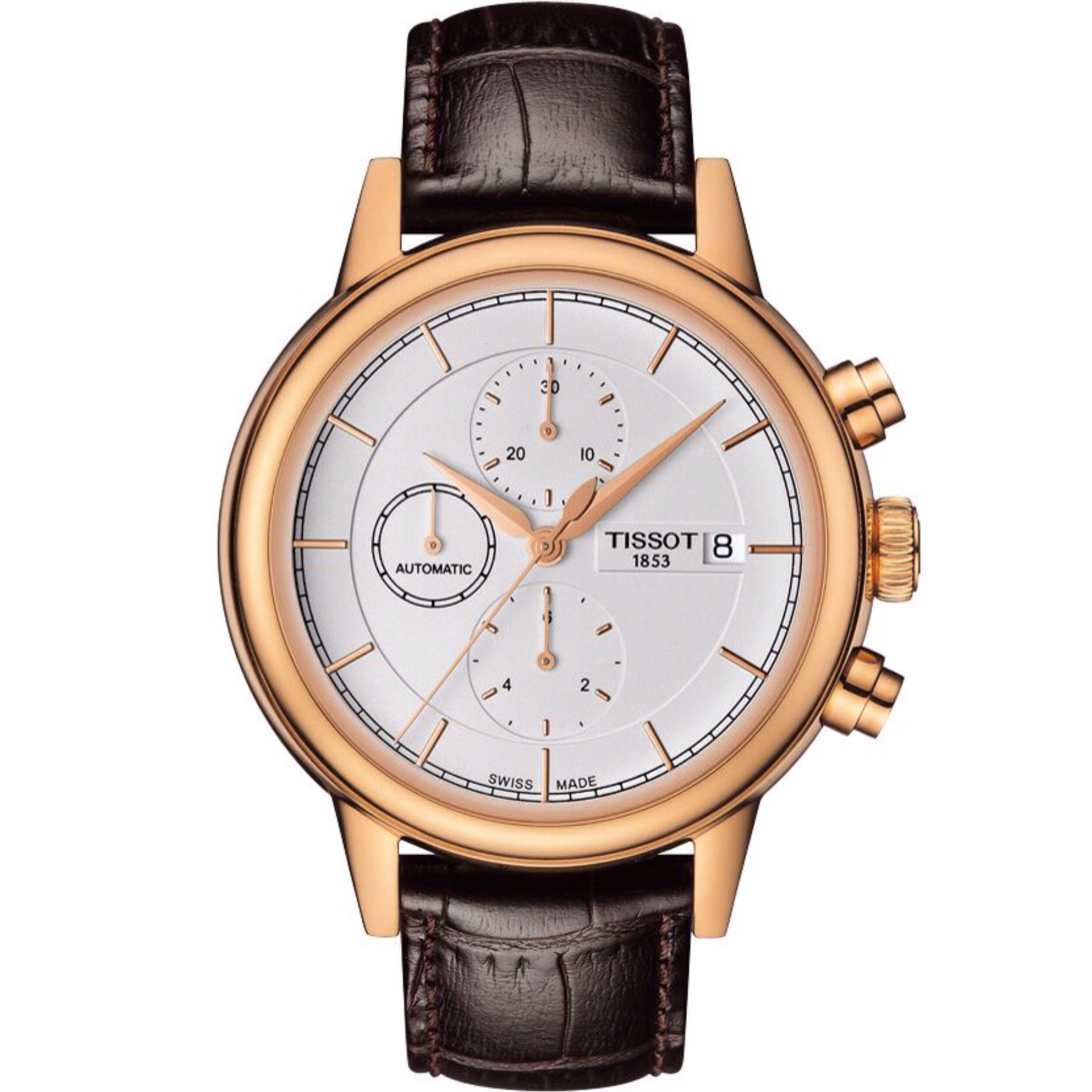 Tissot Carson Men's Automatic Chrono Rose Gold PVD Case White Dial Watch with Brown Leather Strap