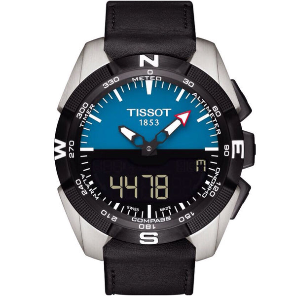 Tissot T-Touch Expert Solar Black Dial Black Leather Strap Men's Quartz 100 Meters Watch