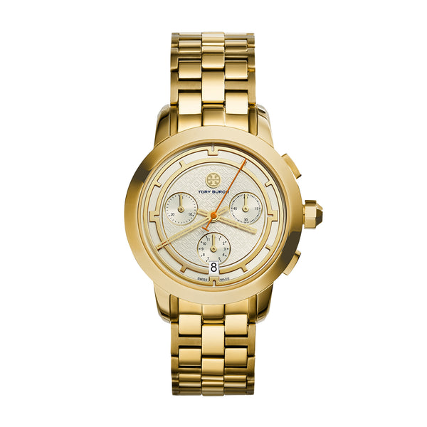 TORY WATCH, GOLD-TONE/IVORY CHRONOGRAPH, 37 MM