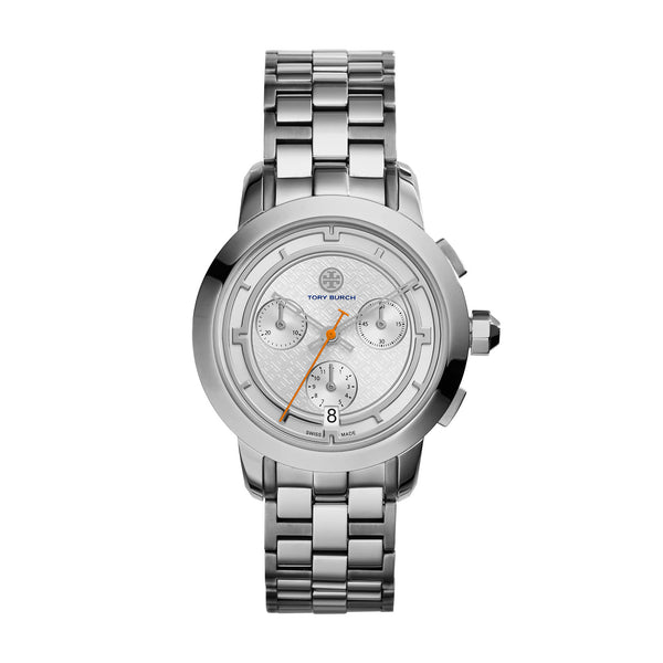 TORY WATCH, STAINLESS STEEL/SILVER CHRONOGRAPH, 37 MM