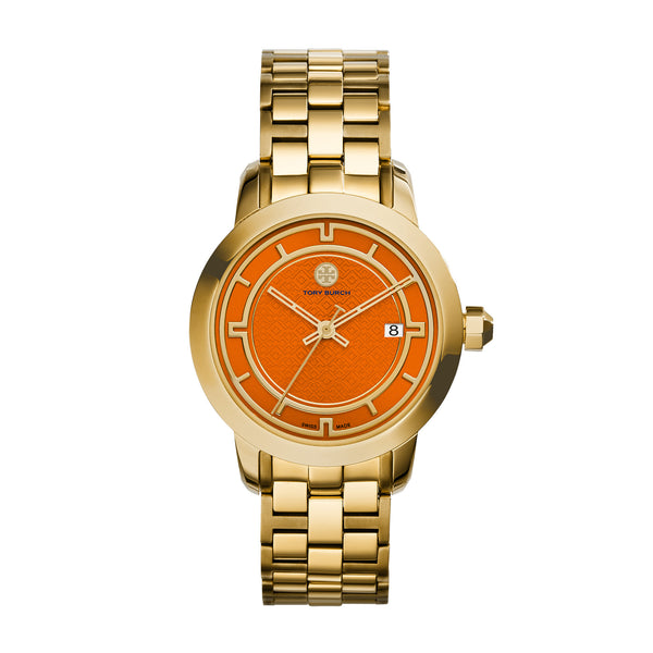 TORY WATCH, GOLD-TONE/ORANGE CHRONOGRAPH, 37 MM