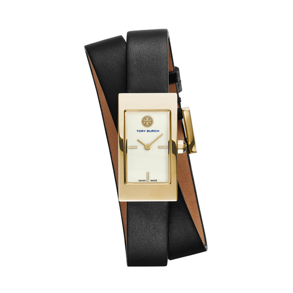 BUDDY SIGNATURE GOLD TONE IVORY DIAL BLACK DOUBLE WRAP STRAP