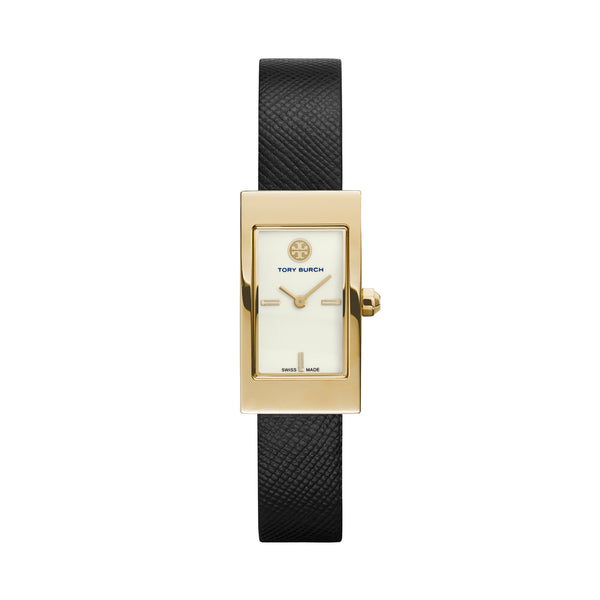 BUDDY SIGNATURE GOLD TONE IVORY DIAL BLACK STRAP