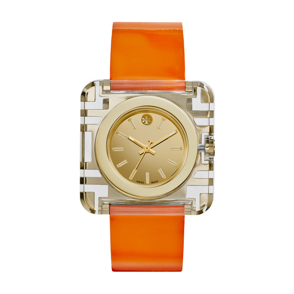 IZZIE WATCH, ORANGE PATENT/GOLD, 36 X 36 MM