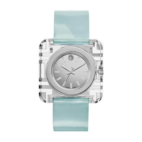 IZZIE WATCH, BLUE PATENT/SILVER, 36 X 36 MM