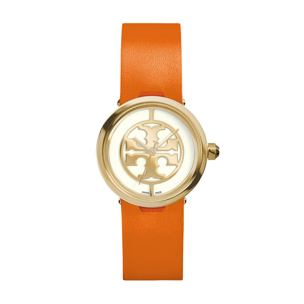 REVA WATCH, ORANGE LEATHER/GOLD-TONE, 28 MM