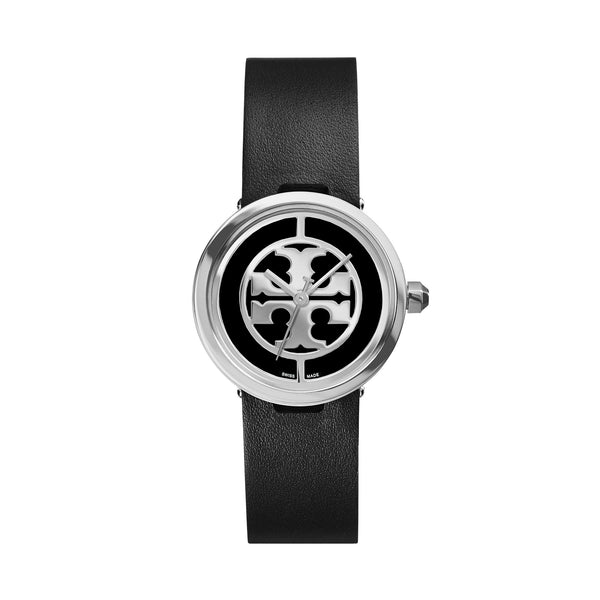 REVA WATCH, BLACK LEATHER/STAINLESS STEEL, 28 MM