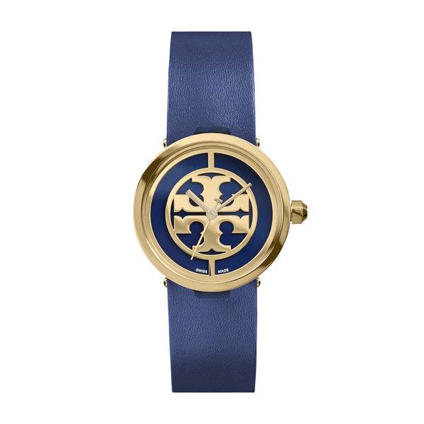 REVA WATCH, NAVY LEATHER/GOLD-TONE, 28 MM
