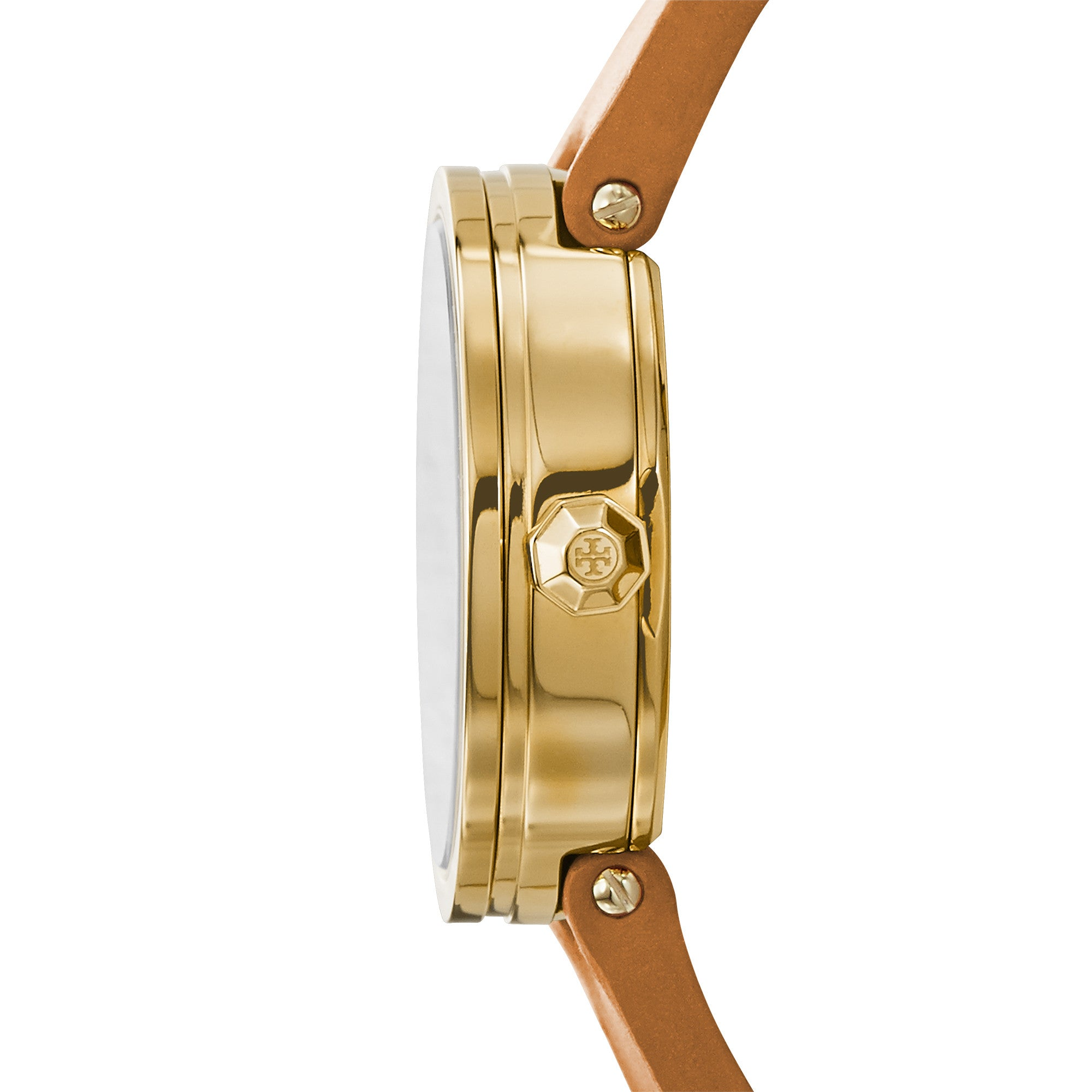 REVA WATCH, LUGGAGE LEATHER/GOLD-TONE, 28 MM