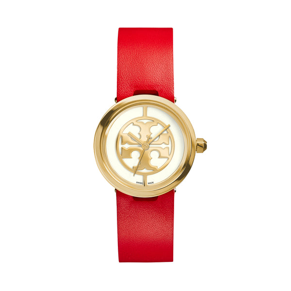 REVA WATCH, RED LEATHER/GOLD-TONE, 28 MM