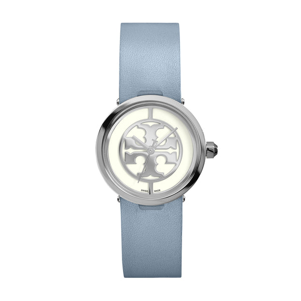REVA WATCH, BLUE LEATHER/STAINLESS STEEL, 28 MM