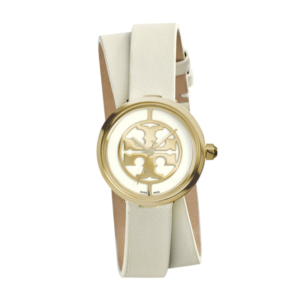 REVA DOUBLE-WRAP WATCH, IVORY LEATHER/GOLD-TONE, 28 MM