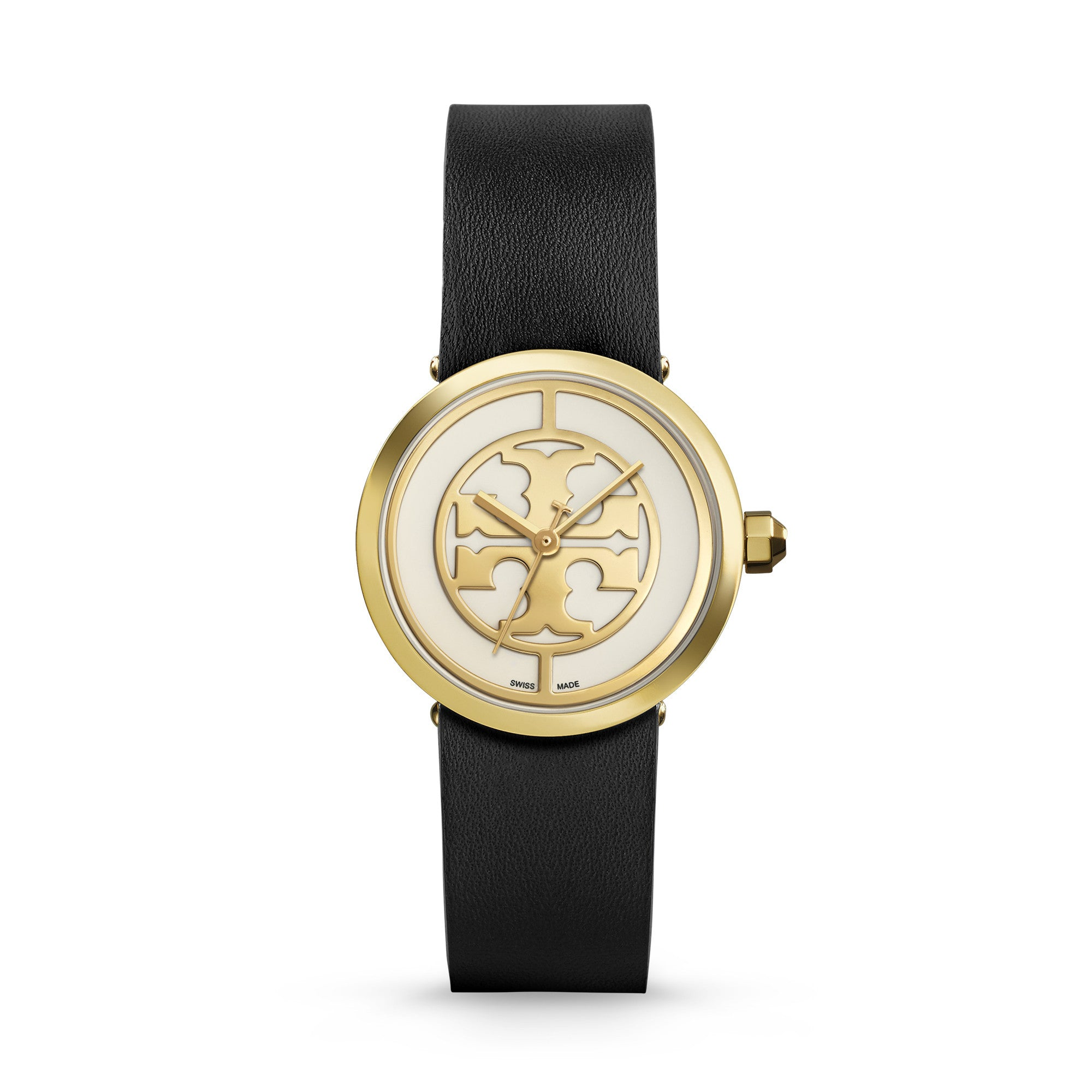 REVA WATCH, BLACK LEATHER/GOLD-TONE, 28 MM