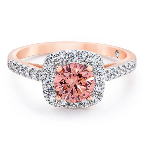 14K Rose Gold 1.50 CTW Pink and White Lab Grown Diamond Halo Ring With Pave Band