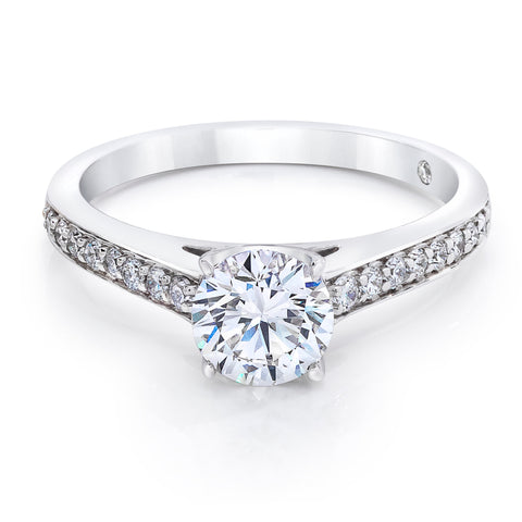 Engrace Solitaire Ring with Pave Band