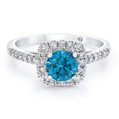 14K White Gold 1.50 CTW Blue and White Lab Grown Diamond Halo Ring With Pave Band