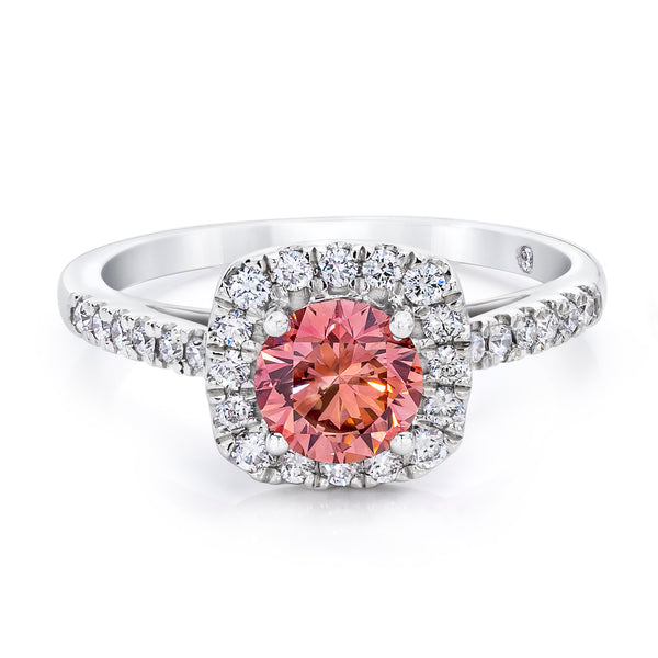 14K White Gold 1.50 CTW Pink and White Lab Grown Diamond Halo Ring With Pave Band