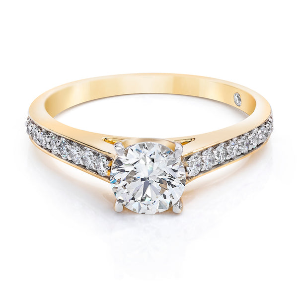 14K Yellow Gold 1.25 CTW Lab Grown Diamond Solitaire Ring With Pave Band