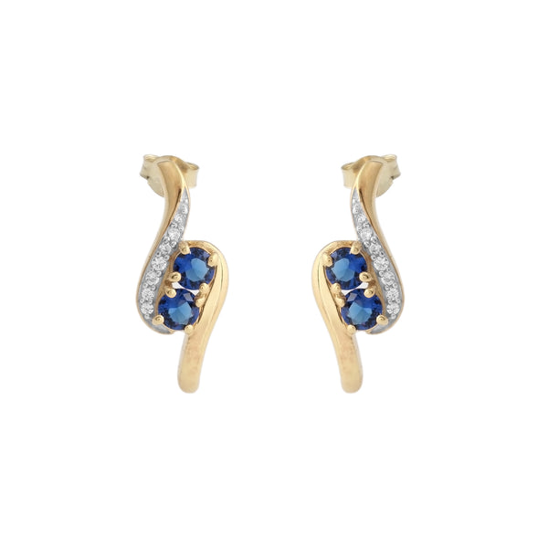 Two Stone Created Sapphire Earrings