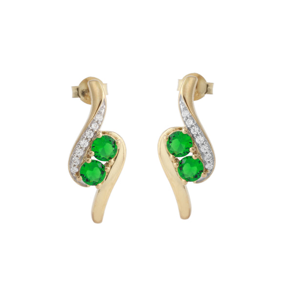 Two Stone Simulated Emerald Earrings