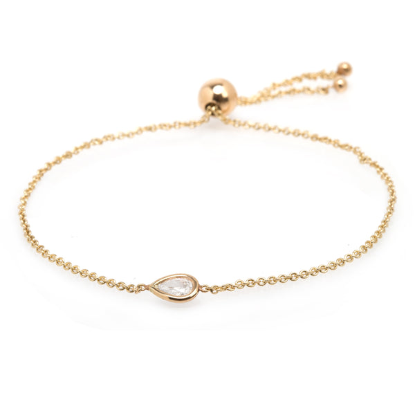 14K FLOATING PEAR DIAMOND BOLO BRACELET