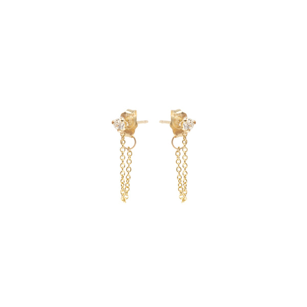 14K PRONG SET DIAMOND CHAIN STUD EARRINGS