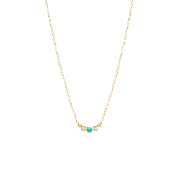 14K GRADUATED 5 BEZEL TURQUOISE & DIAMOND NECKLACE