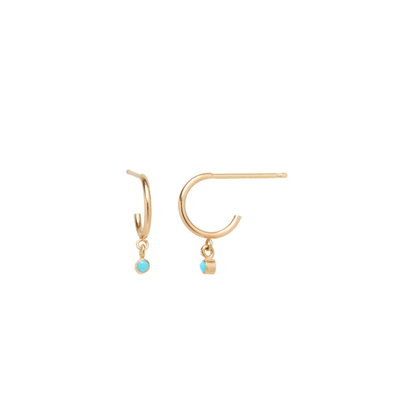 14K DANGLE BEZEL TURQUOISE THIN HUGGIE HOOPS