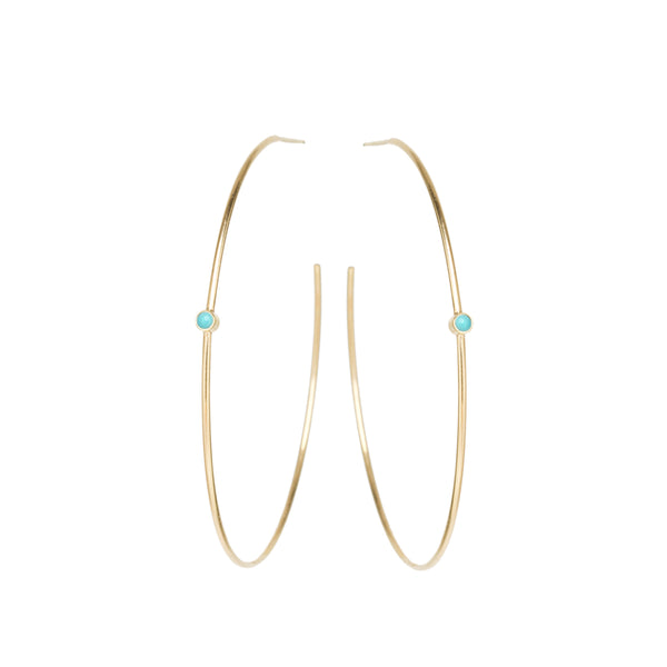 14K BEZEL TURQUOISE CENTER HOOPS