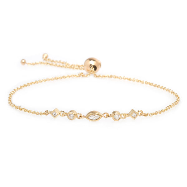 14K 5 MIXED DIAMOND LINKED BOLO BRACELET