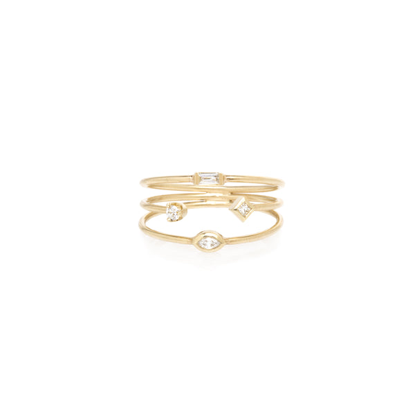 14K THIN 3 BAND MIXED DIAMOND RING