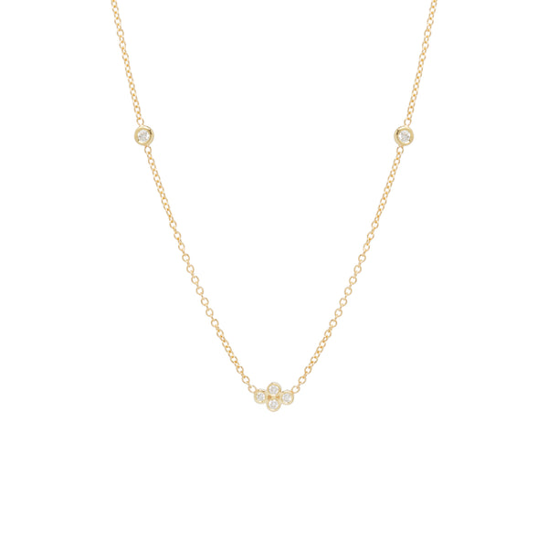 14K TINY BEZEL AND FLOATING DIAMOND QUAD NECKLACE