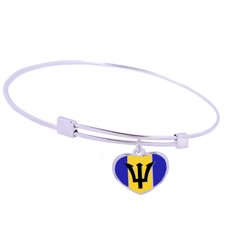 Barbados Flag Sterling Silver Charm Bangle