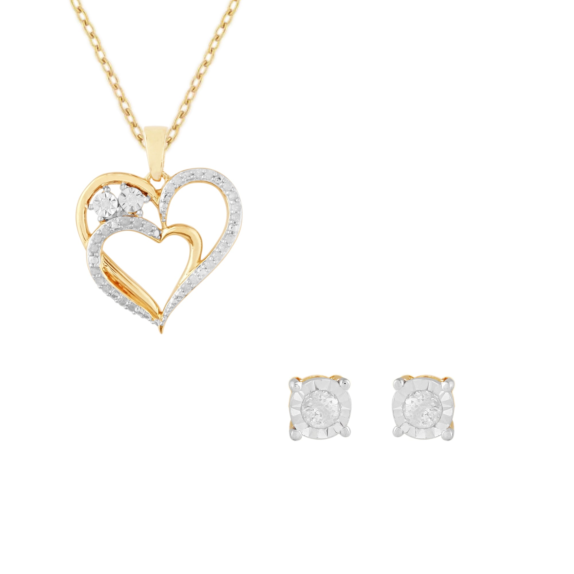 14cttw diamond heart 2 piece pendant and earring set little 14cttw diamond heart 2 piece pendant and earring set mozeypictures Image collections