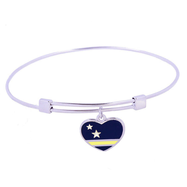 Curaçao Flag Sterling Silver Charm Bangle