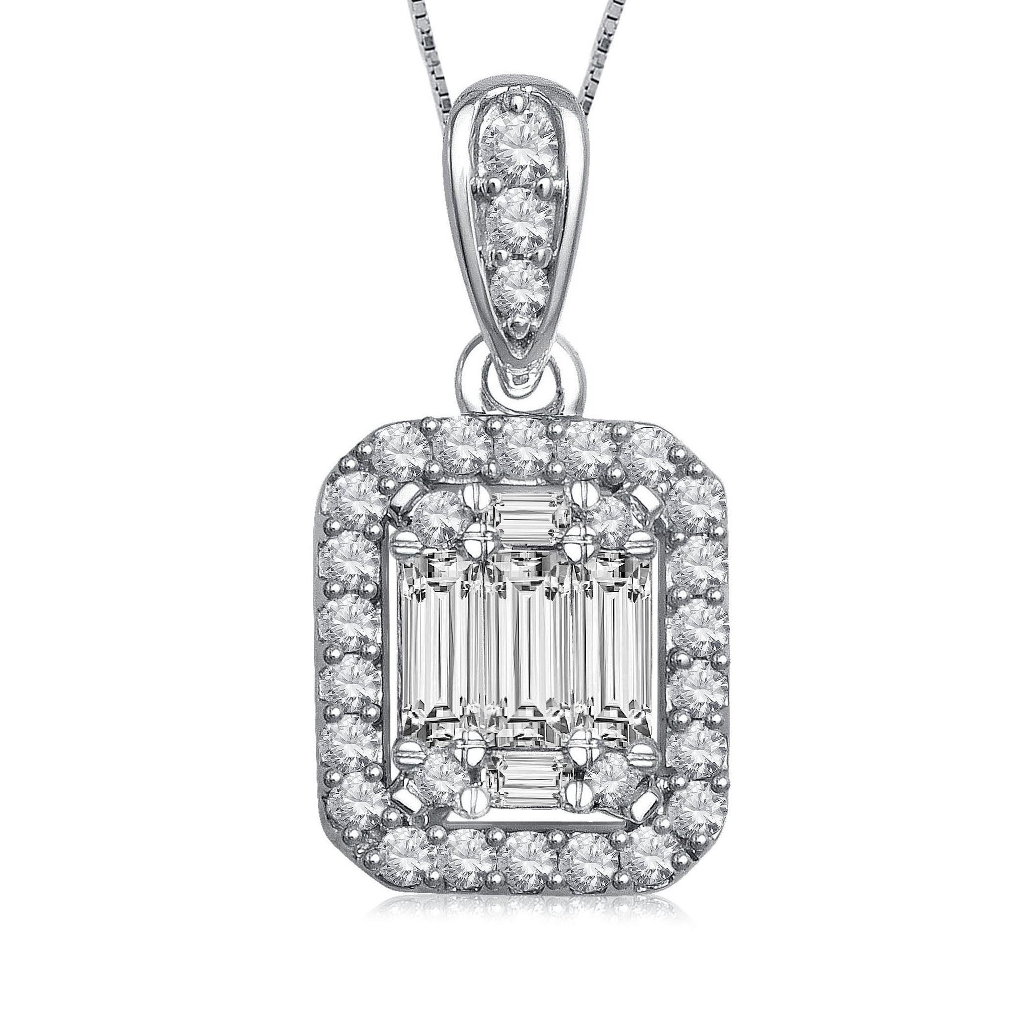 Diamond Halo Drop Necklace 14k White Gold (0.50 ct. tw.)