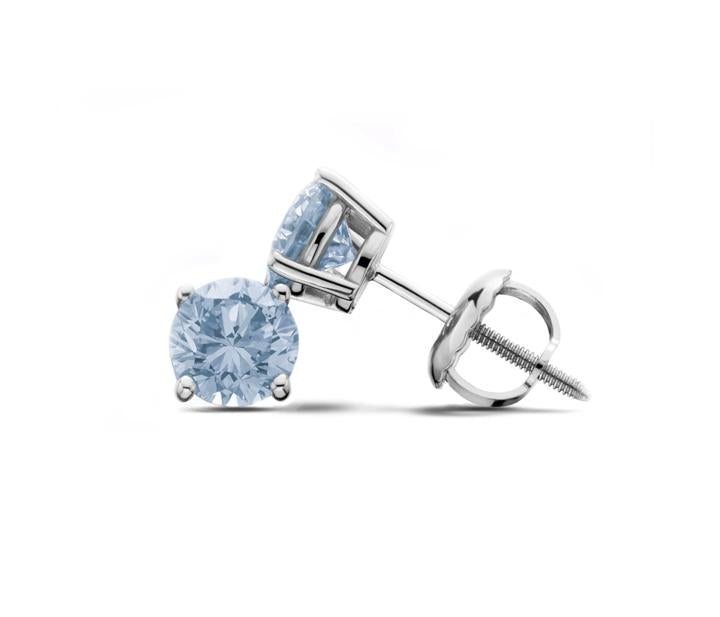 14Kt White Gold Ice Blue Lab-Grown Diamond Stud Earrings