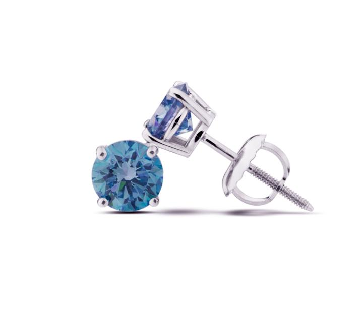 14Kt White Gold Royal Blue Lab-Grown Diamond Stud Earrings