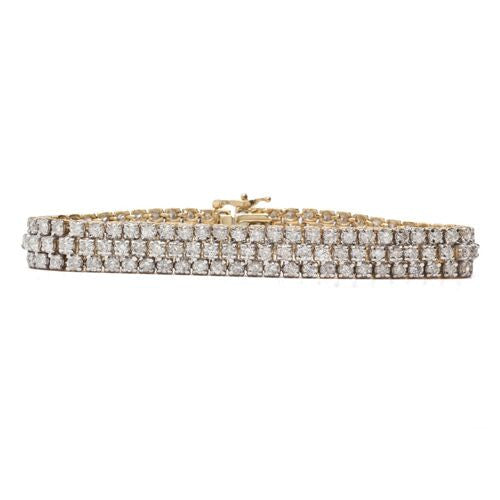 14KT Triple Row Diamond Tennis Bracelet