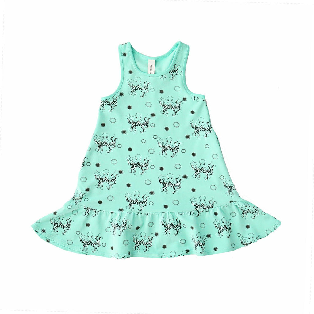 noni bee organic tank ruffle dress octopus aqua blue