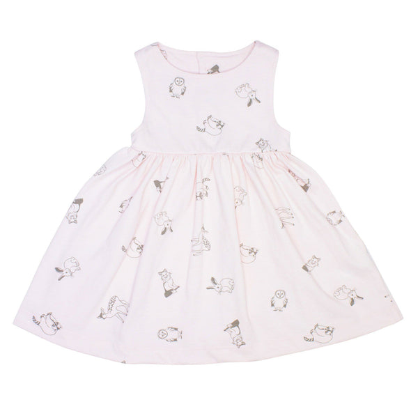 Noni Bee Organic Dress Pink Woodland Animal