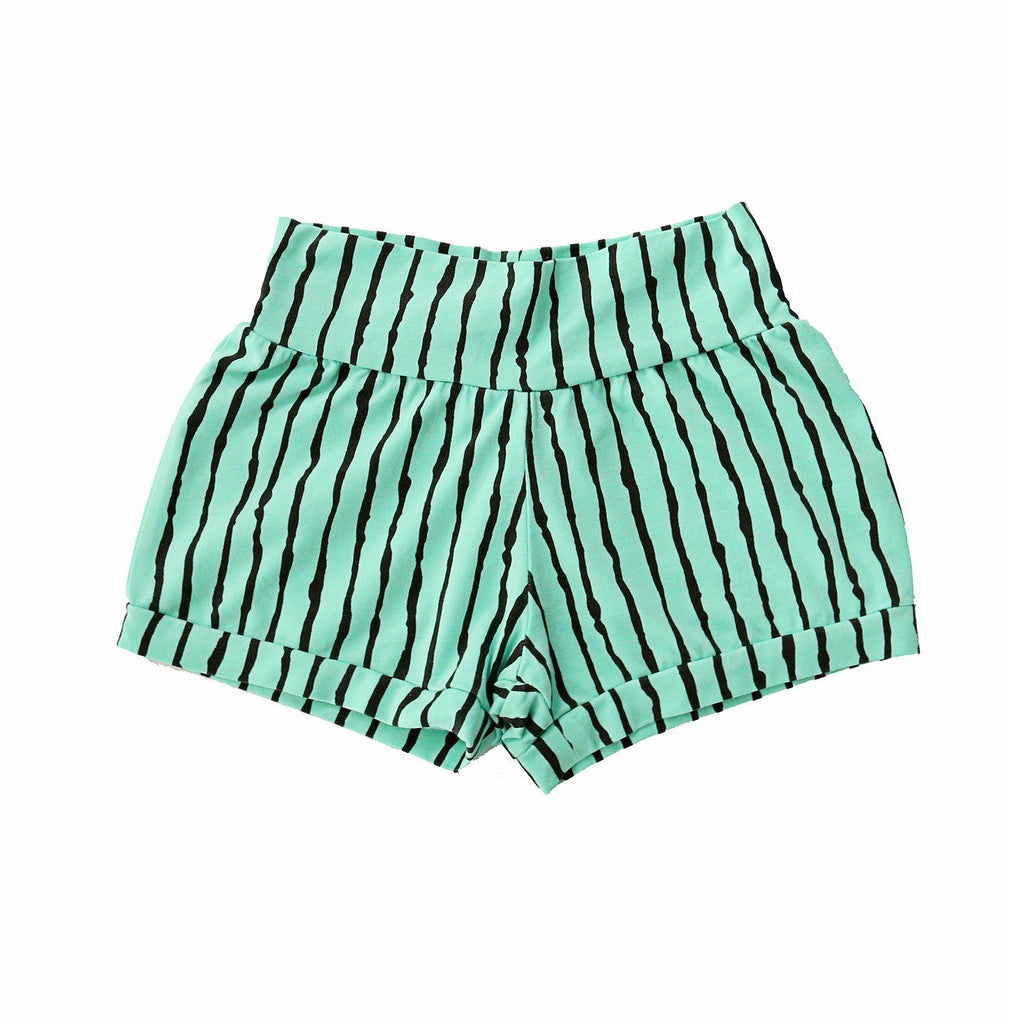noni bee organic shorts striped aqua